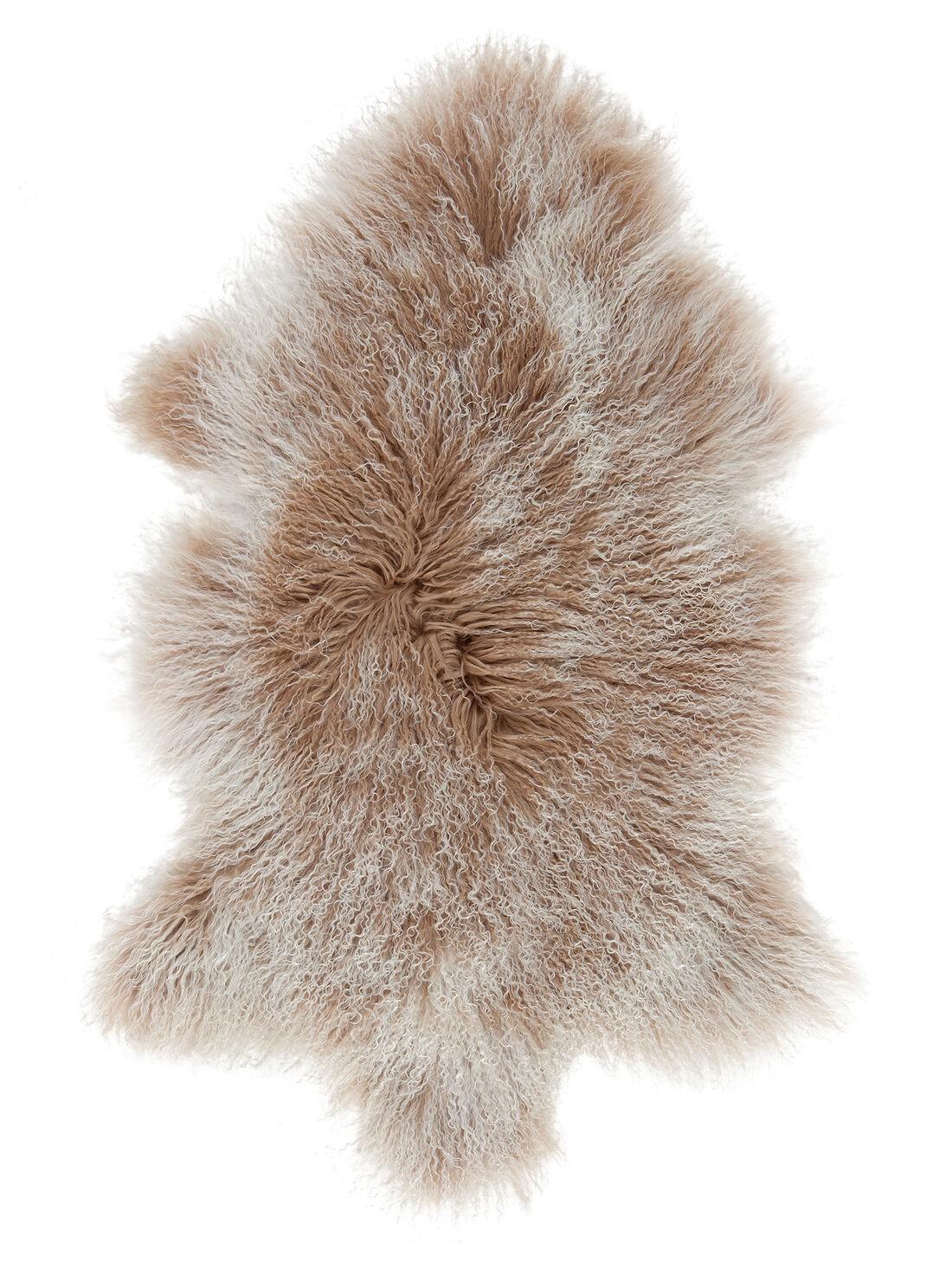 tapis en peau de mouton naturelle nattiot marron 80x60 cm