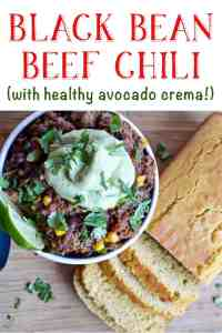 black bean beef chili with avocado crema