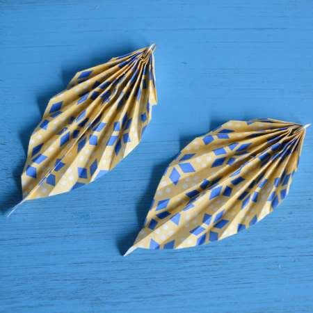oragami leaf earrings pair 2