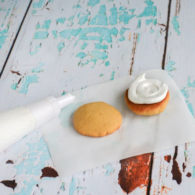 pipe fluff onto cookie