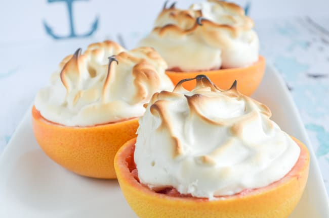 Paleo meringue on baked grapefruit