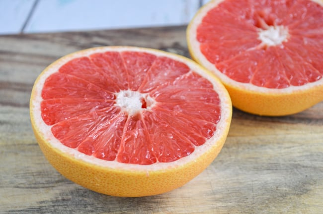 cut open grapefruit