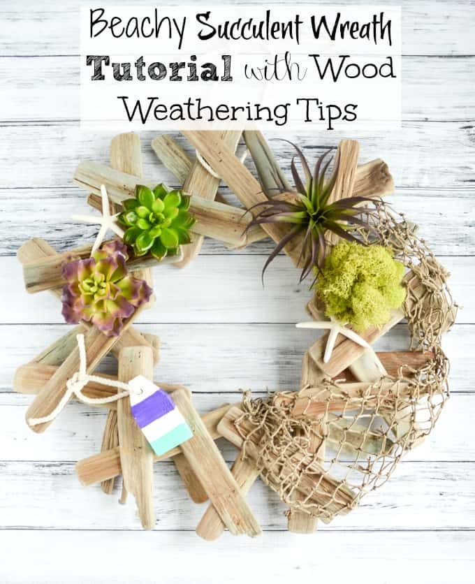 Beachy Succulent Wreath with Wood Weathering Tips