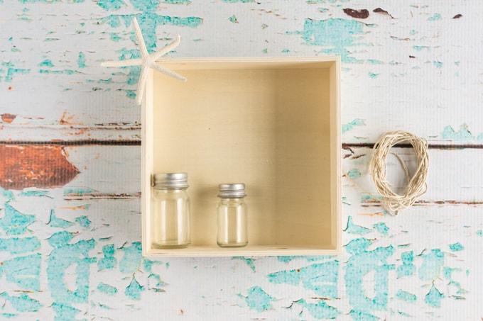 supplies for beachy shadow box