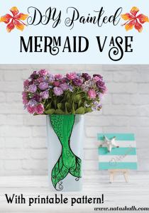 DIY Painted Mermaid Vase (with Pattern!)