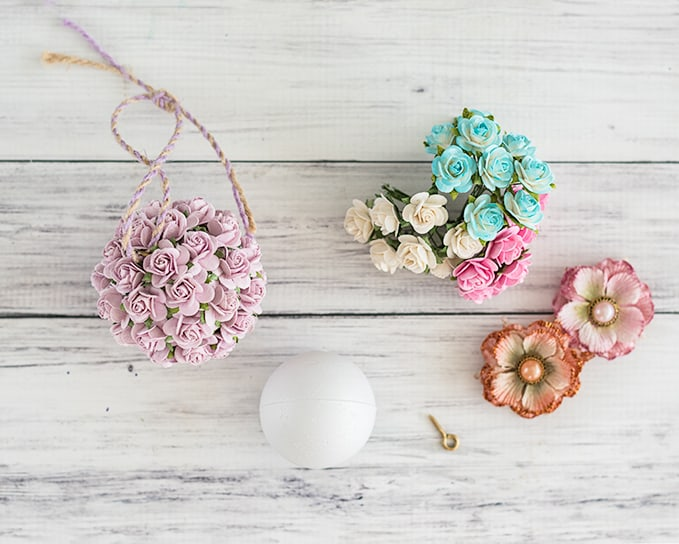 materials needed for paper flower kissing ball