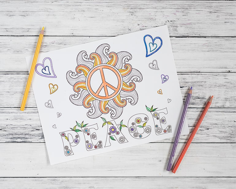 Free Printable Peace Coloring Page – Hypnobabies-Inspired Peace Coloring Page