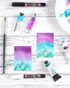 watercolor galaxy night sky with mountains tutorial