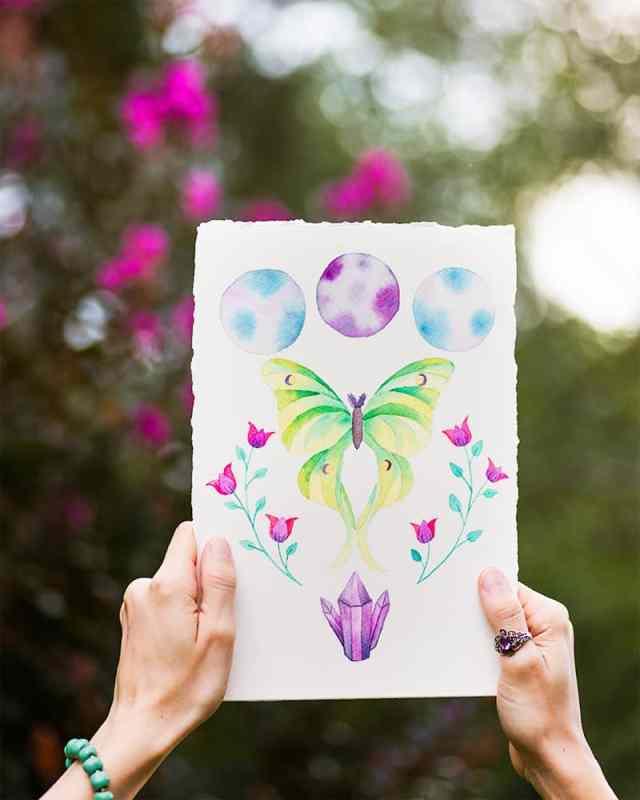 luna moth watercolor painting