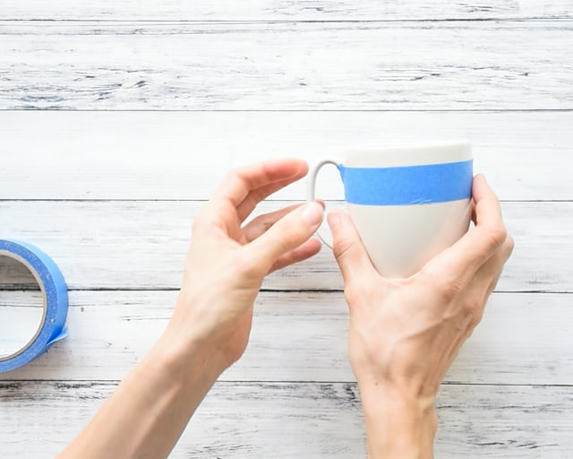 tape off mug for painting