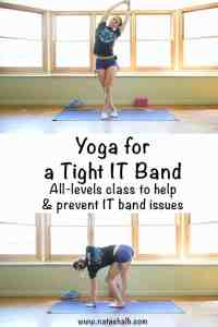 Yoga for a tight IT band. All levels free yoga class for a tight IT band. Help IT band problems or prevent them from occurring with this free yoga class!