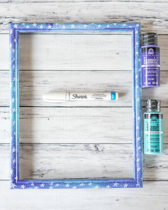 galaxy colored picture frame wit stars
