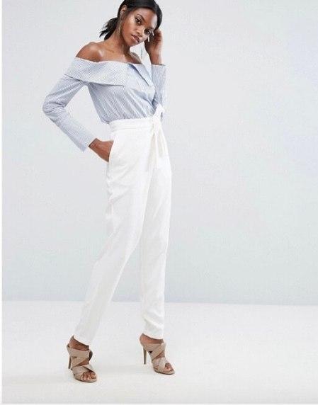 Tendenza moda 2017 ruches e volants pantalone bianco asos