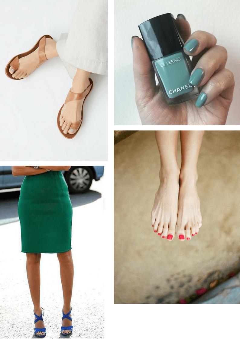 Модные цвета лаков для ногтей на лето 2018, ноги