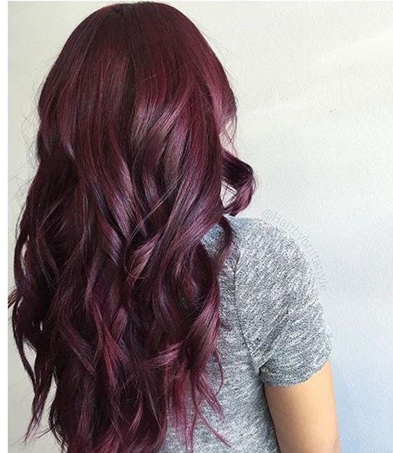Тренды волос 2019, бордовый