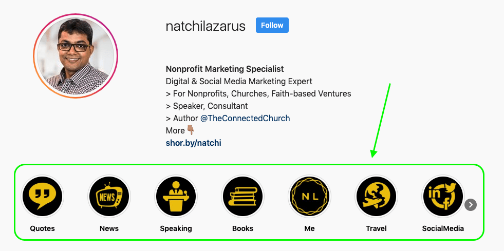 Screenshot of Natchi Lazarus Instagram Bio Story Highlights Section