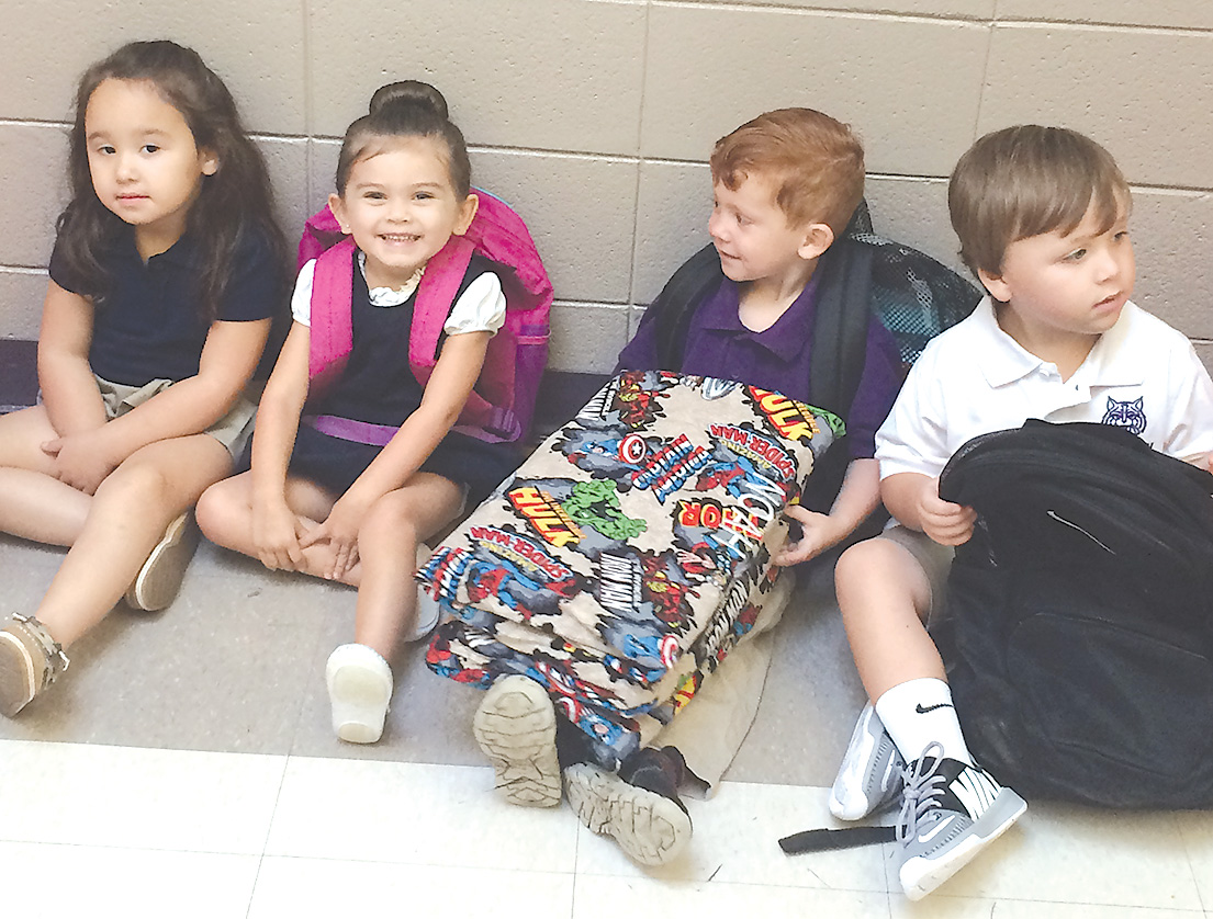 From left are Lexi Sarpy, granddaughter of second grade teacher Frances Sarpy, Ava Cole, daughter of Ella Crow Cole, Noah Alford, son of Marshall and Tierra Alford, and Benton-Tayte Yount, son of Taylor and Mallory Yount. They are attending Pre-K at Fairview Alpha.