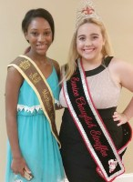 Teen Miss Tayla Mitchell with Teen Miss Eunice Crawfish Etouffee Victoria Breaux visiting at the St. Martin Pepper Festival Pageant