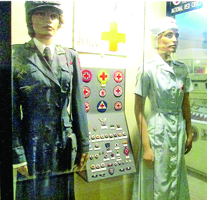 World War II Red Cross nurses uniforms on display at the museum. (Robertson Collection)