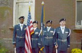 The Lakeview High School AFJROTC presented colors at the park's program. From left are Ladarrion Winslow, Haley Garrison, Julie Daniels and Robert Barthelemy.