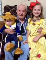 Luke, left, and Leigha Busby were Beauty and the Beast for Halloween. They are pictured with their great-grandpaw, Fred Jordan.
