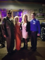 Staff at Maglieaux's on the Cane came as the leadership team for Halloween (down to their phrases and mannerisms!) They recreated a photo taken at an event with the LA Sports Hall of Fame in 2014. From left are Nicholas Cole as owner John Richmond, Rebekah Wiley as owner Kathy Richmond, the actual Kathy Richmond and Jacob Yarbro as general manager Joe Siciliano.