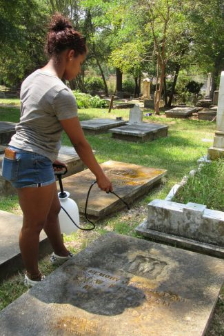 """Gennyfer Pena - """"I'm an ROTC cadet. I believe doing this really makes a difference to the families of those buried here."""""""