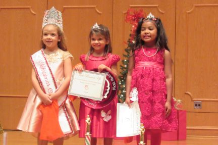 From left are First Grade Christmas Angel Brooklyn Elisabeth Clark, First Runner Up and Photogenic Winner Anistyn Rhodes and Second Runner Up Skyla Mims.