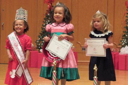 From left are Pre-K Christmas Angel Brianna Prudhomme, First Runner Up and Photogenic Winner Carleigh Bush and Second Runner Up Charlee Rhodes.