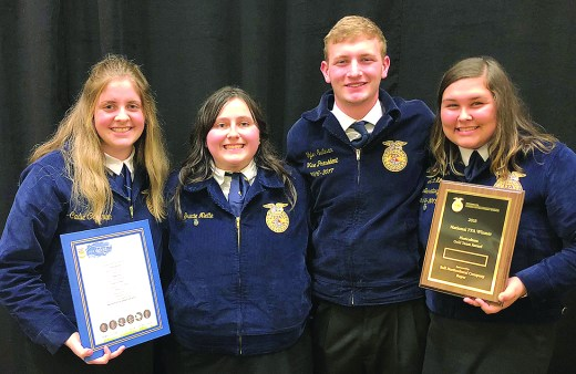 From left are Cadie Coleman, Gracie Niette, Tyler Sullivan and Salem Johnson. They placed 10th in the nation in the Floriculture Career Development Event.