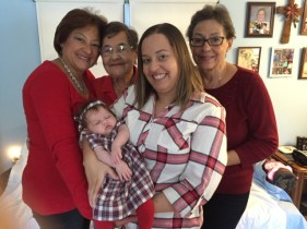On front row is Nicole Kratofil, holding baby Paige Longi. In back are Donna Cloutier, Irene Rachal and Margaret Cloutier.