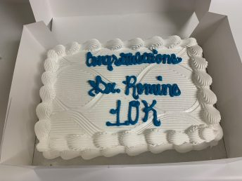 Office staff presented this cake to Dr. Romine