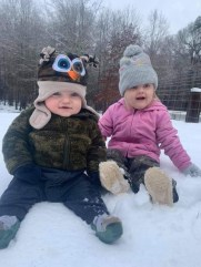 I wonder what these two thought of the snow? Evelyn and Rowdy DuBois, all smiles, grandchildren of Lalania and Scottie DuBois.