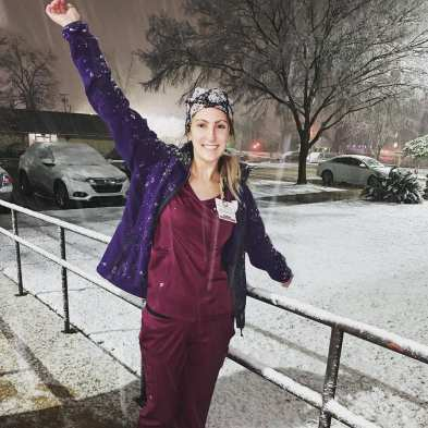Haleigh Ratliff enjoying the snow at work