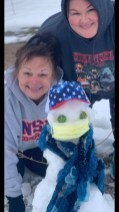 Peggy Leslie and Kasey Cain enjoyed making their 2021 snowman.