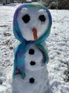 "Crystal Bass also had her ""besties"" snowman."