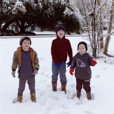Joseph, Jakob and Jaxon Waxley from Natchitoches, enjoying their first snow.