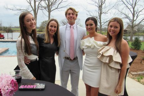 From left are Gabby, Aline and Andrew Godfrey, Queen Madeline and her sister Caroline Godfrey.