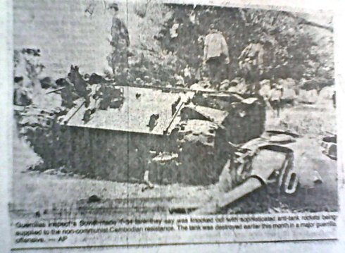 Government tank destroyed by secret covert anti-tank weapons supplied to the guerrillas first used the day I was blown up by an anti-tank landmine. Photo and story by me published worldwide via the Associated Press
