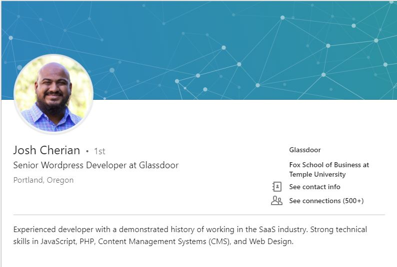 Screenshot of Josh Cherian's LinkedIn page. I was able to leverage my resource -- my friendship with Josh -- to quickly get my website back up.