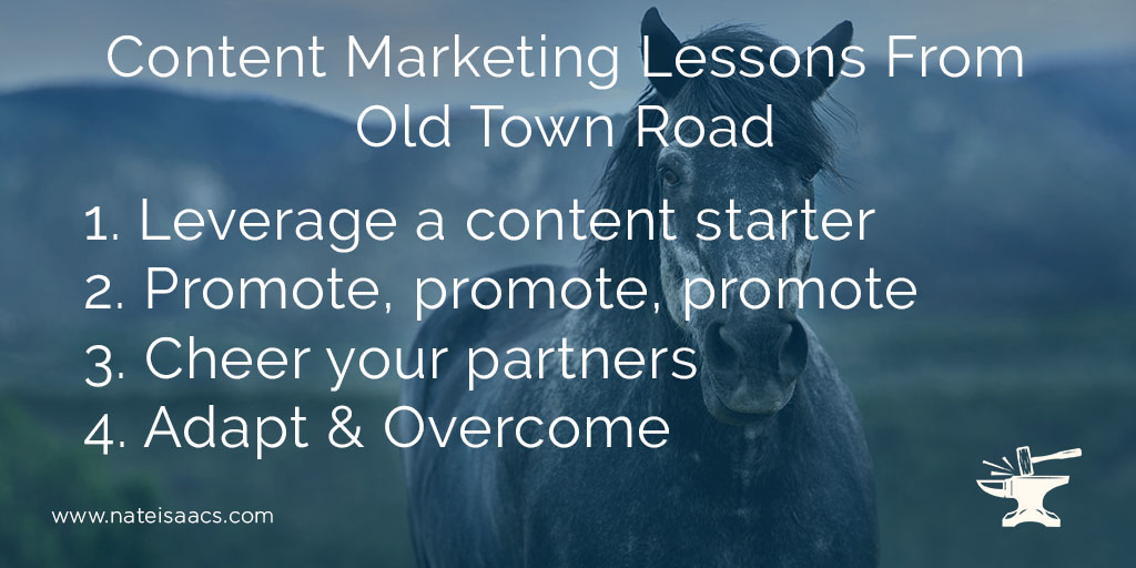image quote of the four content marketing lessons from the song Old Town Road by Lil Nas X