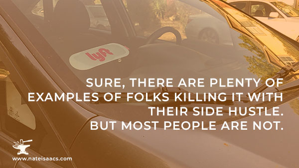 Image quote about the myth of side hustles for a post about creating an online video course.