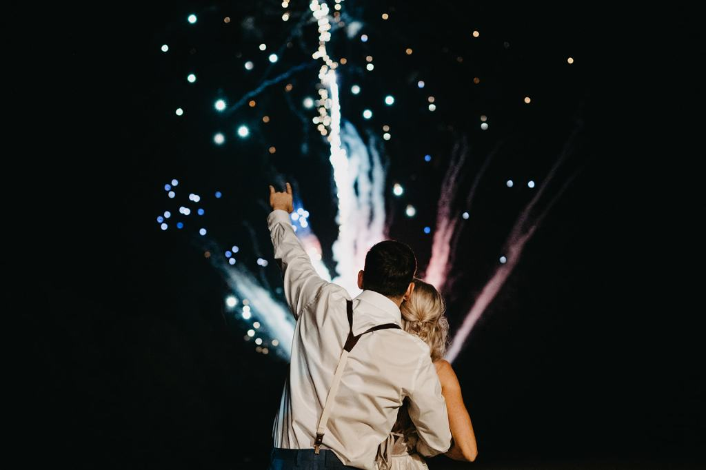 Couple watches fireworks
