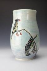 Vase: Cedar Waxwings