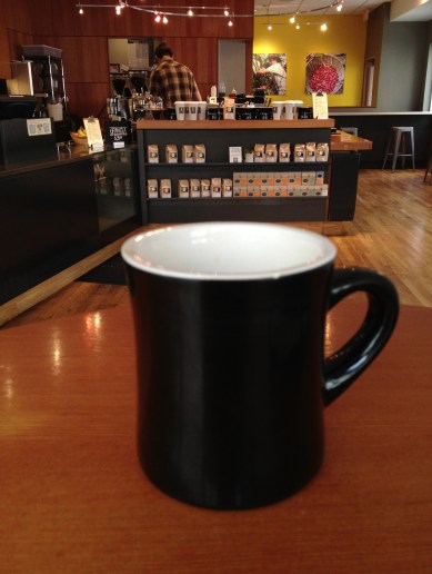 A cup of coffee at Public Domain in downtown Portland.