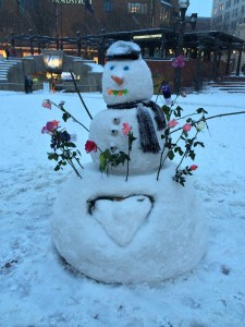 Someone built this beautiful snowman in Pioneer Square.