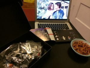 Sitting down with Back to the Future on and a bowl of pretzels, ready to get started.