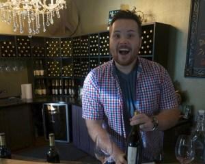Tyler showing wine