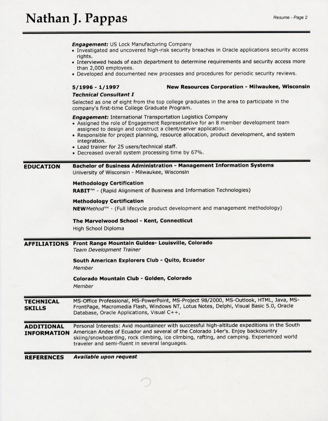 Sample Resume Layout Sample 2 Page Resume Layouts Resume Layout