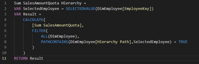 Sum Sales Quota Hierarchy DAX Code